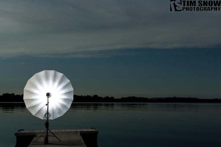"Sitting on the dock of the bay, the Photoflex 72"" Shoot Through Umbrella struts its stuff."